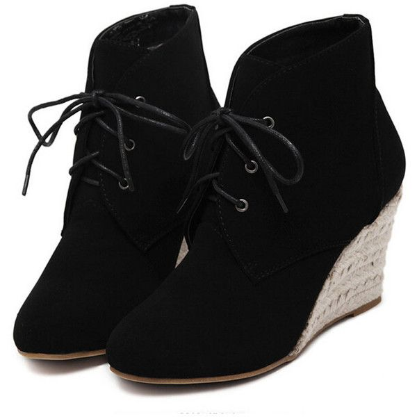 Black Suedette Lace Up Wedge Ankle Boots ($57) ❤ liked on Polyvore featuring shoes, boots, ankle booties, short black boots, wedge bootie, black lace up boots, black booties and black wedge bootie
