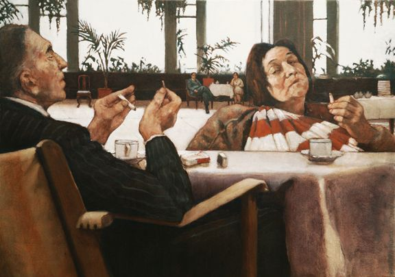Rachel Berman - They filled the afternoon with the mundane business of Modern Life (2011) 24.75 x 35 oil on canvas