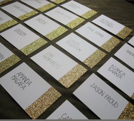 Glitter Dipped Place Cards Gold Silver or Pink by HooplaLove