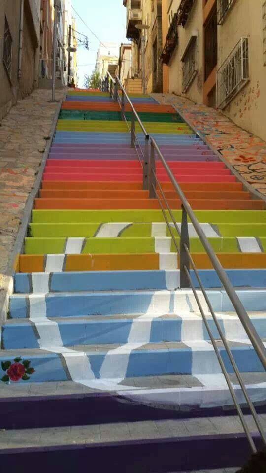 staircaise street art.Karataş, İzmir, Turkey, Amazing Place In Turkey To Visit