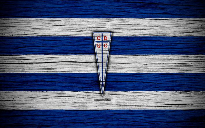 Download wallpapers Universidad Catolica FC, 4k, logo, Chilean Primera Division, soccer, football club, Chile, Universidad Catolica, wooden texture, FC Universidad Catolica