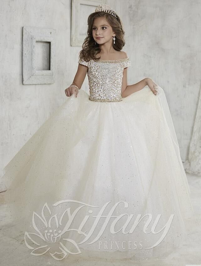 Free shipping, $79.32/Piece:buy wholesale gorgeous off shoulder girls pageant dresses beaded crystal sequin sweep train ball gown pageant gowns for girls ivory kids prom dress from DHgate.com,get worldwide delivery and buyer protection service.