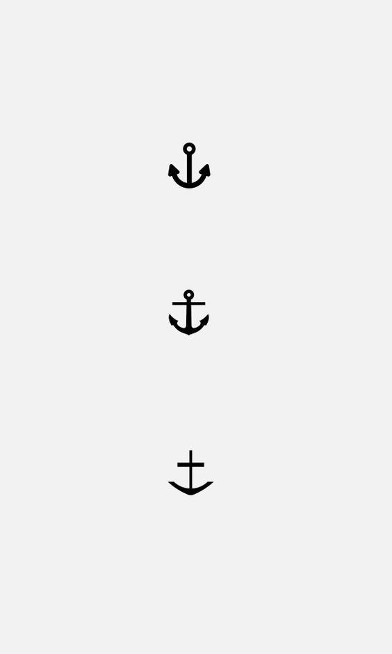 Simple Black Three Anchor Tattoo Design
