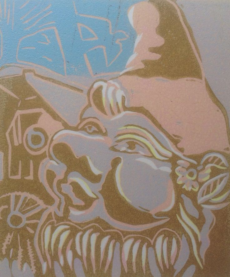 Winter Gnome - reduction Lino cut - by Lesley Brooks