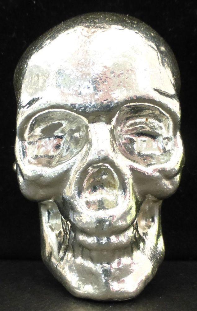 3 Troy oz 3D 999 Fine Solid Silver SKULL Calavera en Plata Fina Pura 3 oz