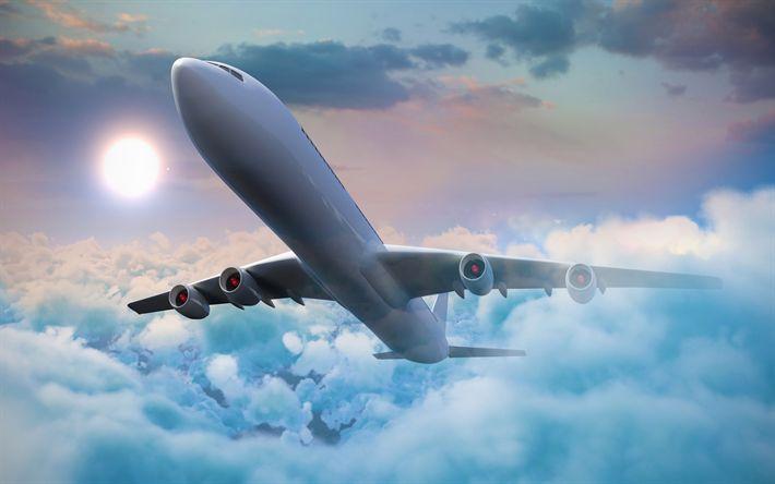 Indir duvar kağıdı uçak, 4k, gökyüzü, bulutlar, sanat
