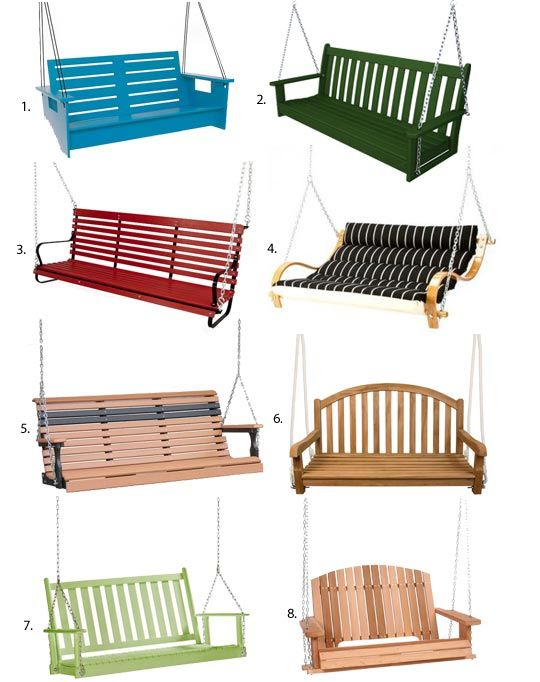 Seating for Swingers: Porch Swings. Tons of great ideas- find the perfect one for your garden!