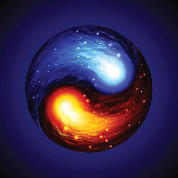 Red and blue fires swirl. | Ying yang in 2019 | Yin yang ...