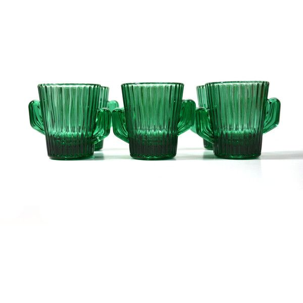 Green Cactus Cactus Shot Glass Southwestern Shot Glasses Libbey Shot... ($69) ❤ liked on Polyvore featuring home, kitchen & dining, drinkware, libbey shot glasses, libbey shot glass, libbey and libbey drinkware