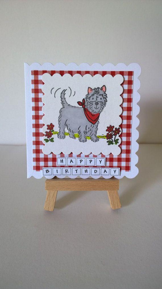 Handmade Westie Dog Birthday Card by Lazymitts on Etsy