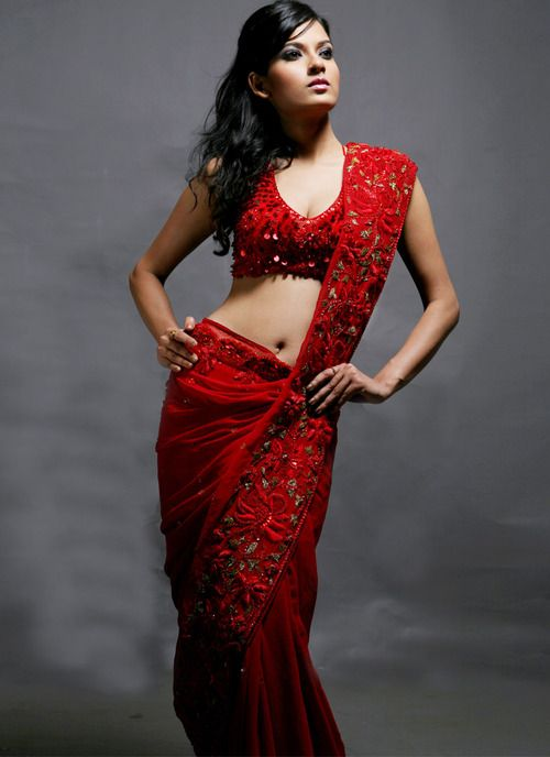 red saree | Tumblr.. not that I can pull this off, but love the deep red color.