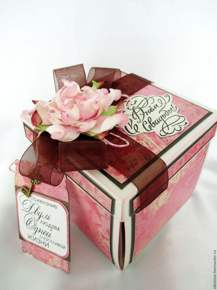 """Купить Коробочка с сюрпризом на свадьбу """"Magic-box Два голубка"""" - коробочка, коробочка для подарка"""