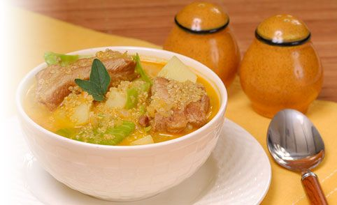 PRONACA RECETA: Sopa de quinua con cerdo
