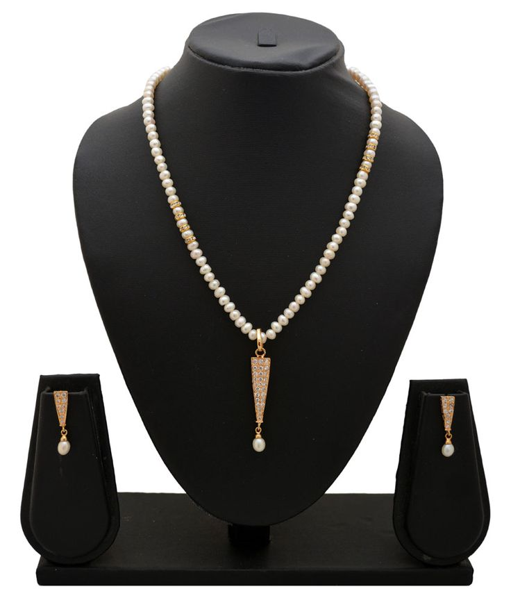 AlyzaPearls Gold Pearl Neclace Set