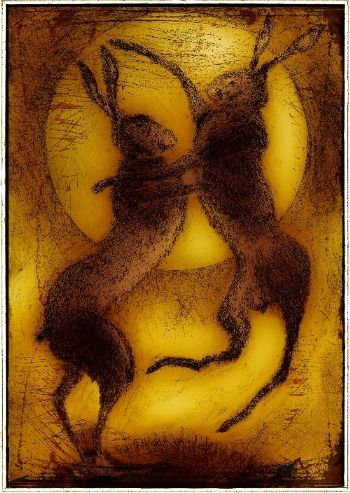 Boxing Hares. Drypoint