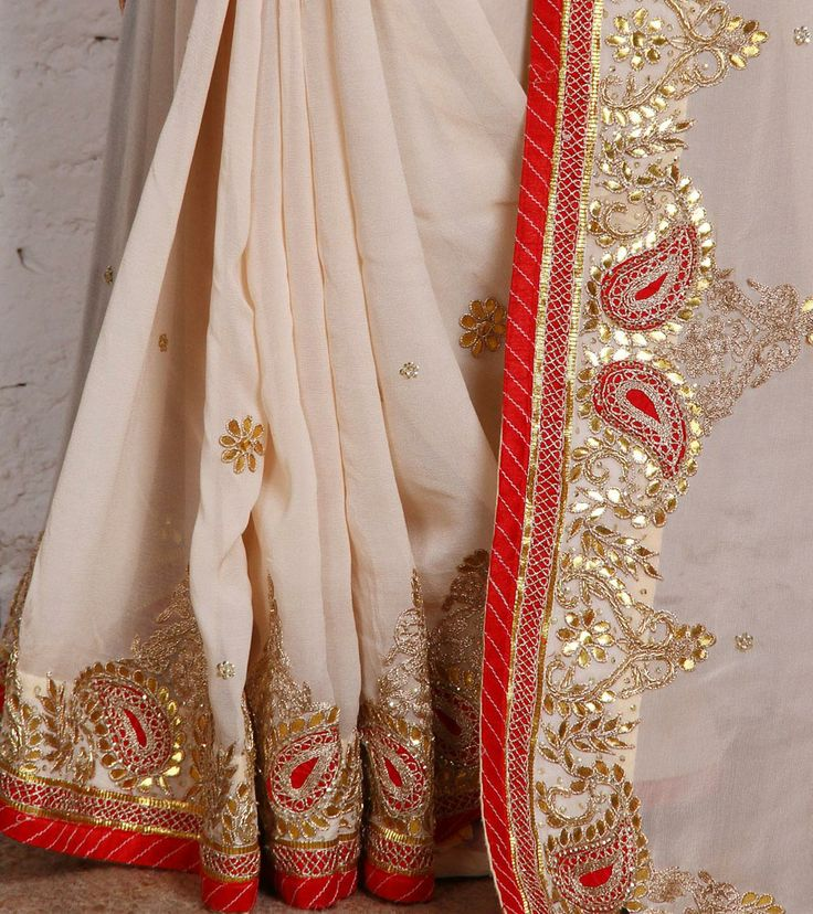 Cream Georgette Saree with Gota Patti