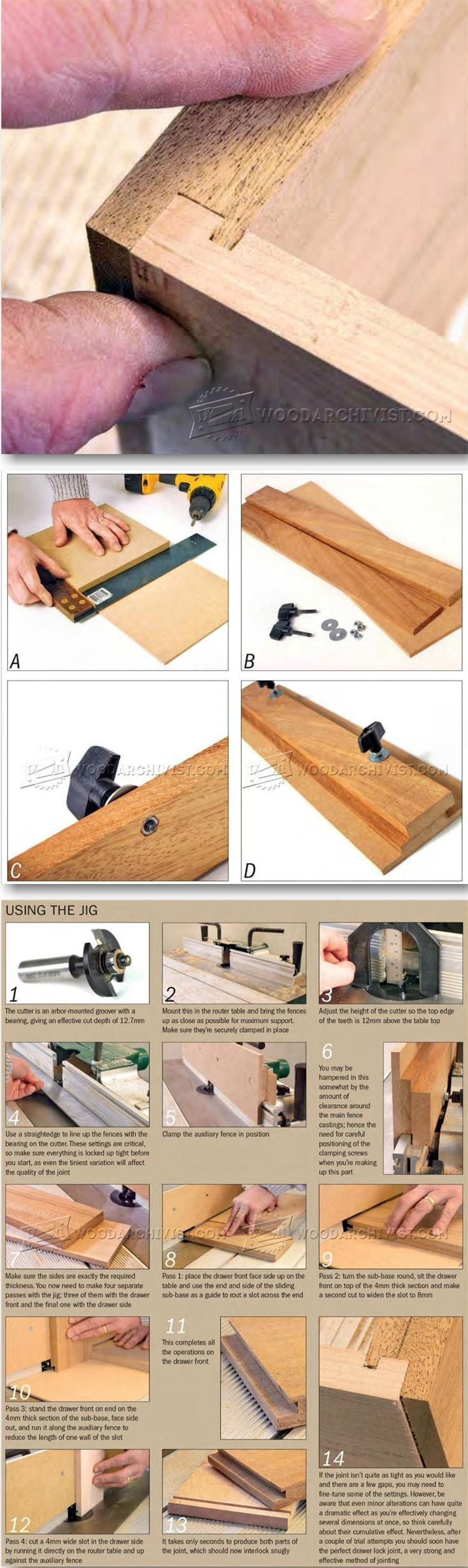 Drawer Lock Joint Jig - Drawer Construction and Techniques | WoodArchivist.com