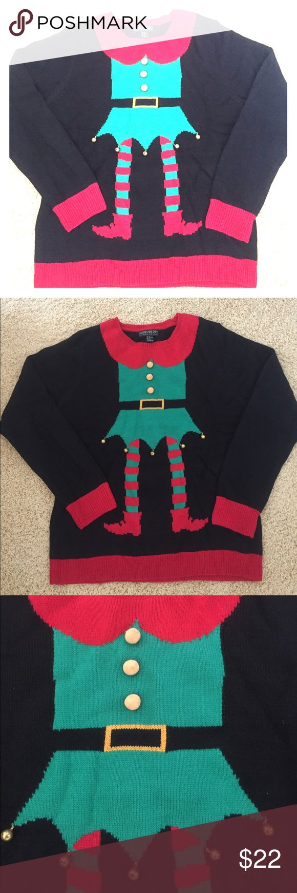 🎄🎉ELF YOURSELF🤗 sweater 🎄🎉super fun and festive ELF YOURSELF🤗 knit sweater!!!! FOREVER21 does not disappoint! Added bells to the bottom of the elf dress for an extra jingle! A guaranteed hit of the Xmas party🎄☃️❄️🎁 Forever 21 Sweaters Crew & Scoop Necks