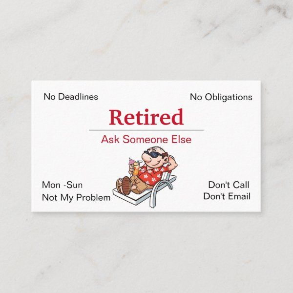 Funny Out Of Business Retirement Business Card Zazzle Com In 2021 Cards Business Cards Custom Holiday Card