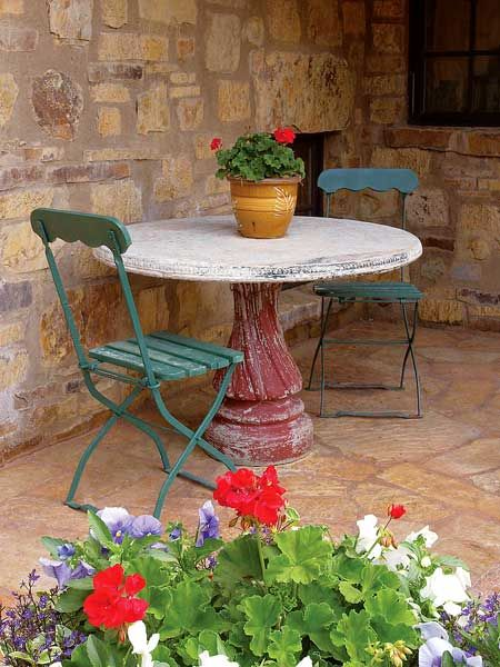That table base looks like my birdbath base, but in red! Cool idea for recycling a broken bird bath.
