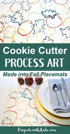 These fall placemats are the perfect project for younger kids! Cookie cutter process art turned into beautiful fall placemats for your holiday table. Kids will love exploring printing with cookie cutters.