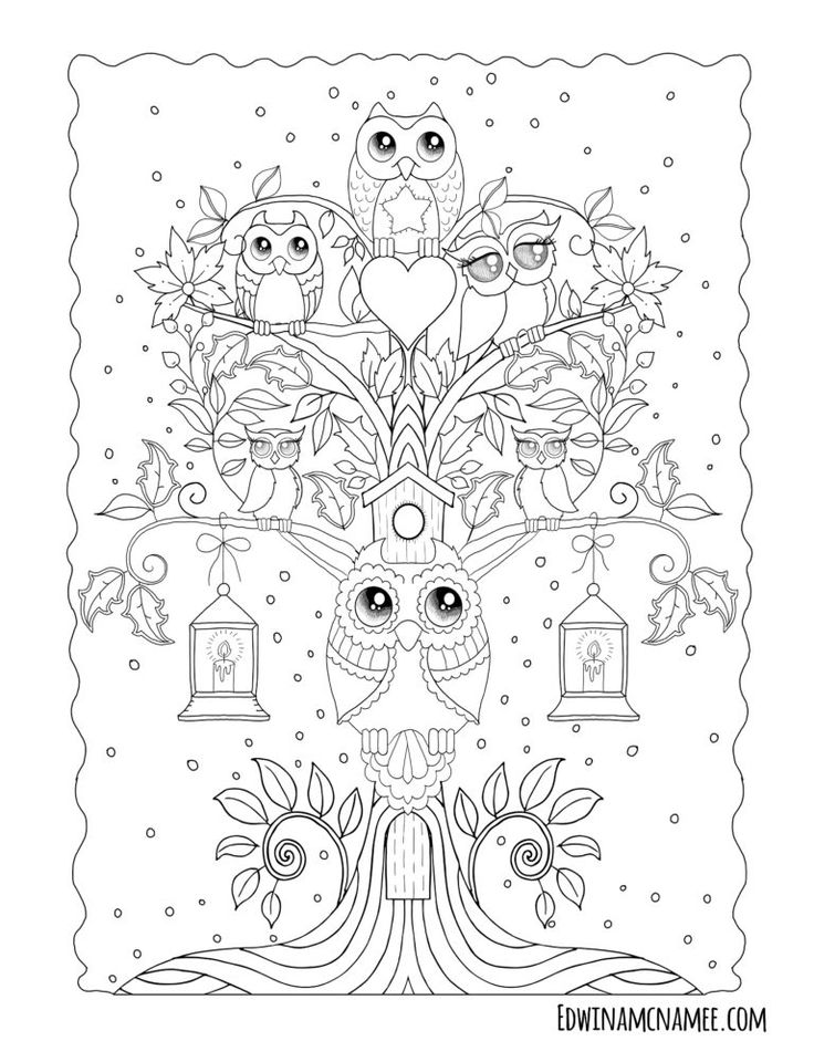 Ornamental Owls - Edwina Mc namee | Owl coloring pages ...
