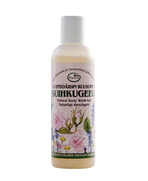 Frantsila Suihkugeeli, Luontoäidin  Ruusun tuoksuista ja hellävaraista puhtautta koko perheelle. Ihoa hellivä ja luontoystävällinen suihkugeeli tekee ihosta puhtaan ja miellyttävän tuoksuisen. pH 5,5.   Ihoystävälliset, ympäristöön hajoavat kasvipohjaiset saippuoidut aineet on valittu tuotteeseen hellävaraisten ja luonnonmukaisten ominaisuuksiensa mukaan. 9,35e