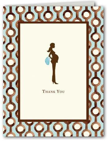 Pretty & Pregnant Blue Thank You Cards - Bonnie Marcus via Baby Bump Bundle on Bumblebean, $6