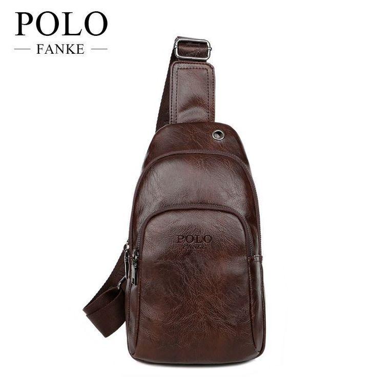 New Chest Bag Men vintage Cross-body Shoulder Diagonal messenger bag Faux Leathe