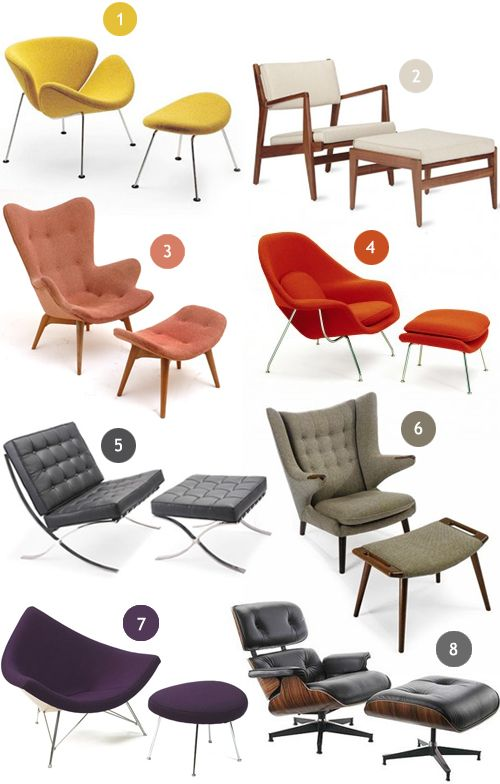 Mid-Century modern lounge chairs.  1. Orange Slice Chair + Ottoman, Pierre Paulin / 2. Armchair + Ottoman, Jens Risom / 3. Contour Lounge Chair + Ottoman, Grant Featherston / 4.Womb Chair + Ottoman, Eero Saarinen / 5. Barcelona Chair + Ottoman, Mies van der Rohe / 6. Papa Bear Chair + Ottoman, Hans Wegner / 7. Coconut Chair + Ottoman, George Nelson / 8. Lounge Chair + Ottoman, Charles and Ray Eames