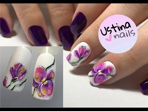 Простой дизайн ногтей. Рисуем орхидею - YouTube