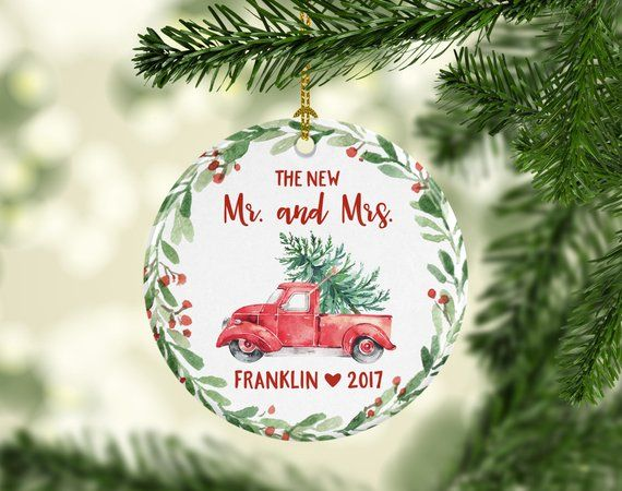 Wedding Gift Custom Mr And Mrs Ornament First Christmas Ornament Personalized Wedding Ornament First Christmas Ornament Married Cute 7199 Christmas Ornaments First Christmas Ornament Family Christmas Ornaments