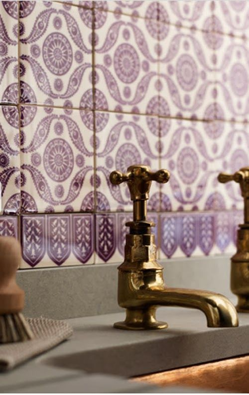 Radiant orchid patterned tiles.