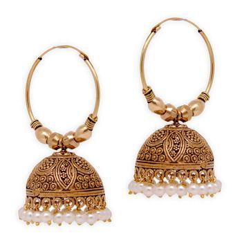 Jaipur Oxidised Black Metal Gold Plated Bali Jumki Style Earrings