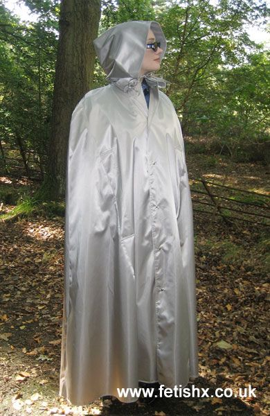 Hooded grey rubberized satin cape