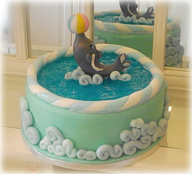 Dolphin Cake @Cupcake Paradiso Rimini, Italy (torta delfino) #blue #jell0 #marinecake# torta #torte