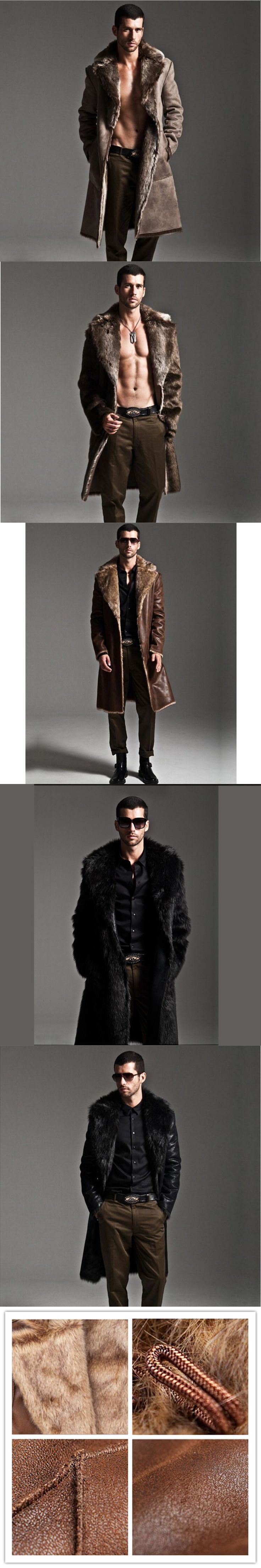 Winter mink fur coat men thickening faux fur leather overcoat high quality fashion man trench leather jacket man windbreaker 5XL