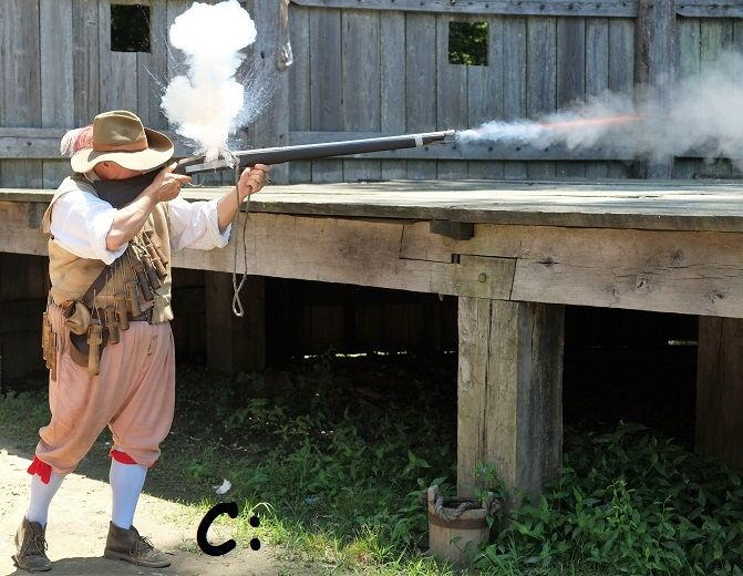 Shooting like ist 1610 at the Jamestown Settlement.