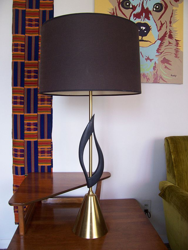 Mid Century Modern Sculptural Stone Flame Lamp W 3 Way Light Switch   $300 (