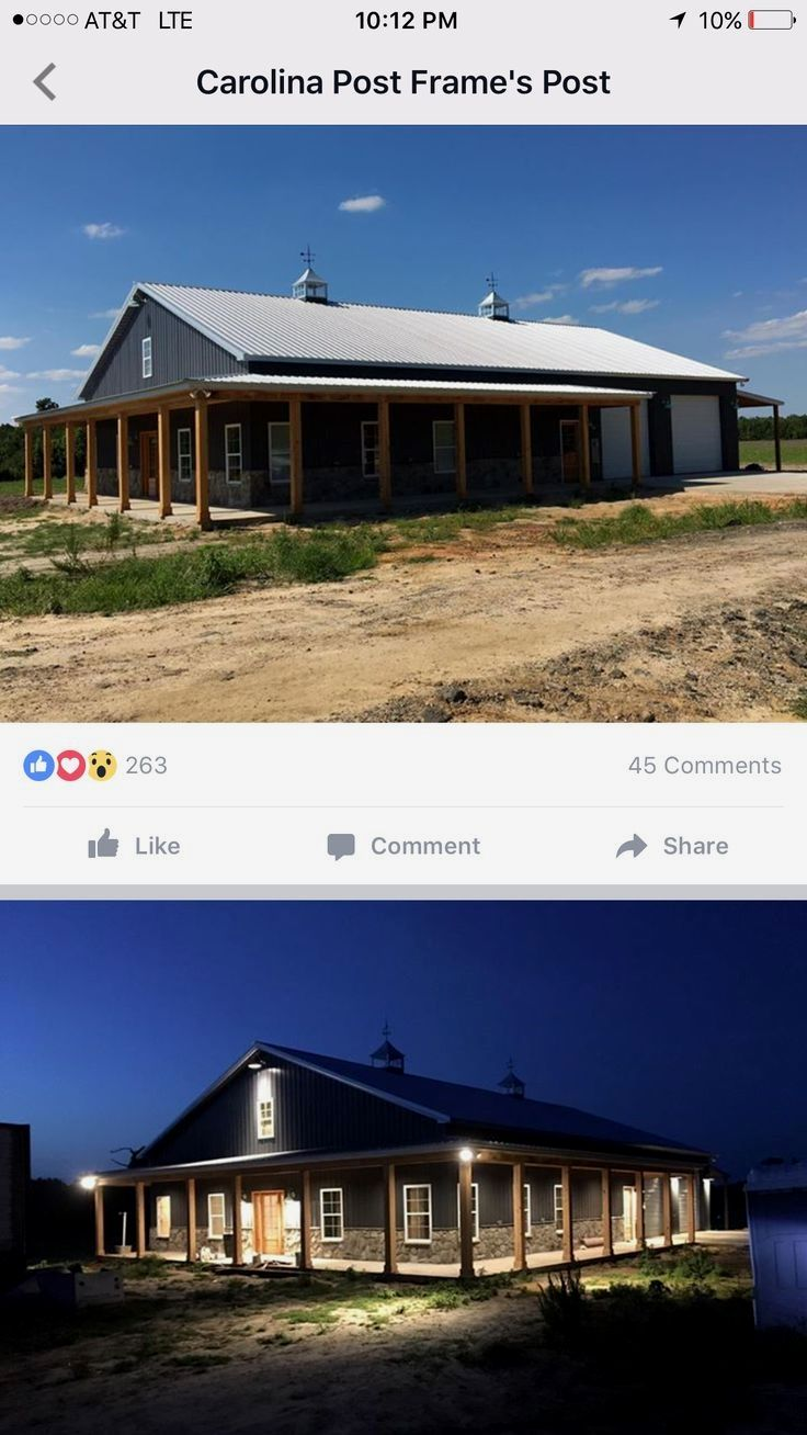 Nice Porch Example Of A Low Roof Line Tied Into Porch Without Much Clearance Steel Building Homes Metal Building Homes Barn House Plans