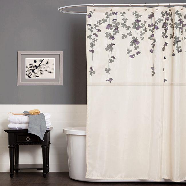 Grey Bathroom. Love The Shower Curtain.  Purple And Grey Shower Curtain