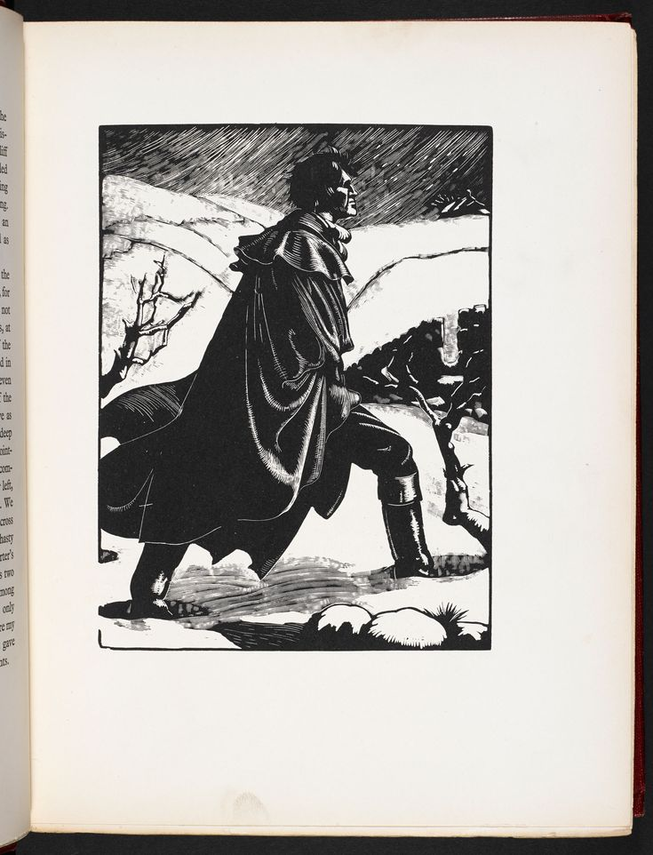 Heathcliff, in a woodcut by Clare Leighton for a 1931 edition of Wuthering Heights.
