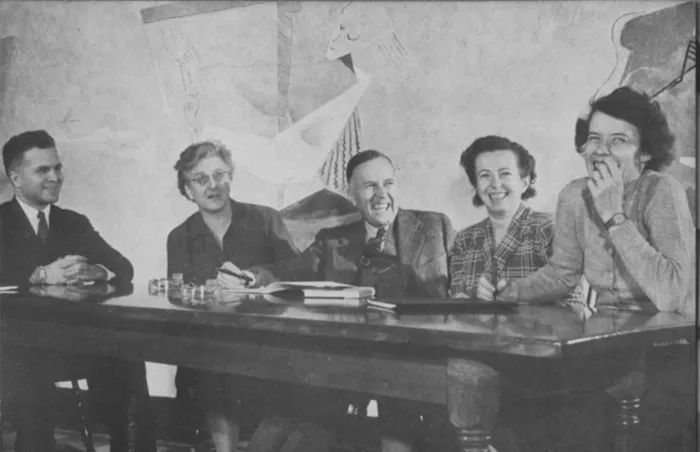 Faculty in the dining hall, 1943 Sarah Lawrence College Yearbook. Left to right: Ebbe Curtis Hoff, Madeline P. Grant, Henry K. Miller, Jr., Maria Goeppert Mayer, Mary Ann Allen. Copyright Sarah Lawrence College Archives.