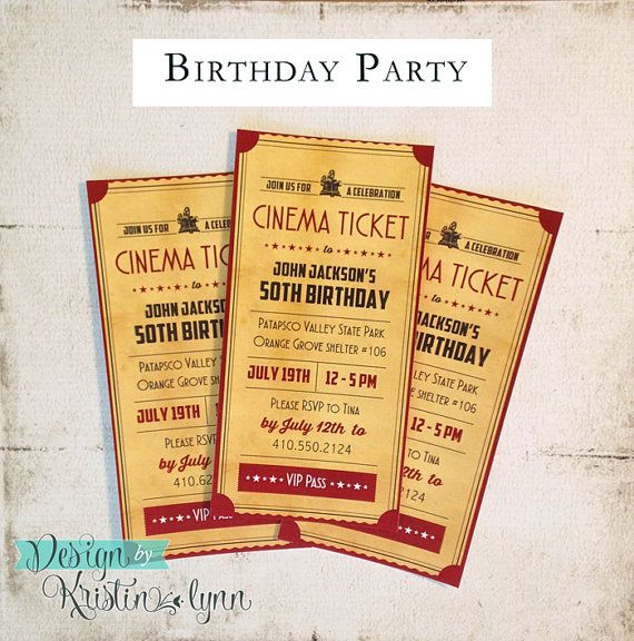 50th Birthday, Movie Buff Party Invitation DIGITAL FILE by DesignbyKristinLynn #movieparty #cinemaparty #moviebuff #birthdayparty #50thBirthday