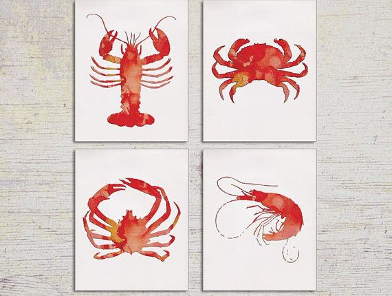 Kitchen Art, Kitchen Decor, Lobster Print, Shrimp Wall Art, Crab Wall Art, Starfish, Beach House Wall Art, Coastal Living Set of FOUR. $34.99 for the set. Etsy.
