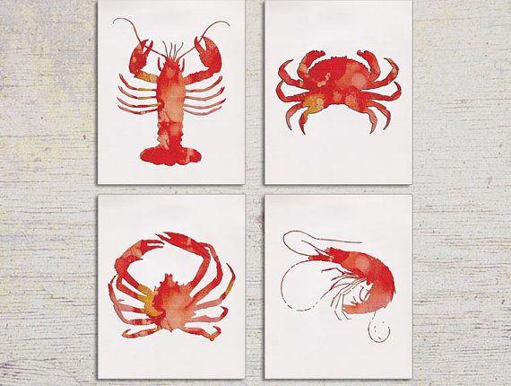 Nautical Kitchen Wall Decor : Kitchen art decor lobster print shrimp wall