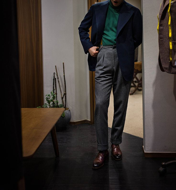 B&TAILOR - Navy Cashmere Blazer, Green Cashmere Turtleneck, Grey Flannel Trousers, Burgundy Grain Leather Boots