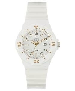 Casio Ladies' White Divers Style Strap Watch. http://www.thesterlingsilver.com/product/bulova-diamond-womens-quartz-watch-with-mother-of-pearl-dial-analogue-display-and-silver-stainless-steel-bracelet-96w205/