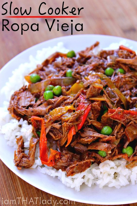 Looking for a different crockpot recipe? This Crockpot Ropa Vieja is PACKED with deliciious Cuban flavor and will only take you about 15 minutes to prepare!: