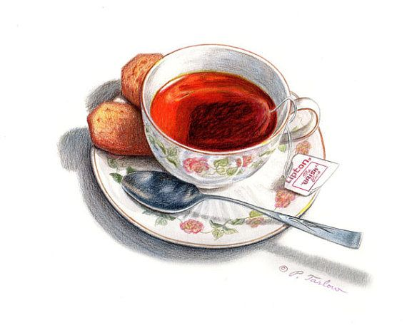 Cup Of Tea & Biscuits Food Art Print Kitchen Art by PTarlowArt, $18.00